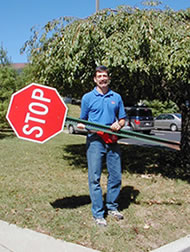 "Mark Fenton - Mark with a somewhat ""faulty"" traffic control device in Maryland."