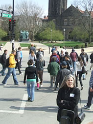 """Scramble"" signal light timing-all traffic stopped at once so pedistrians can cross diagonally - at University of Illinois campus in Urbana, IL"